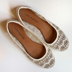 Lucky Brand Eartha Crochet & Leather Ballet Flat 9
